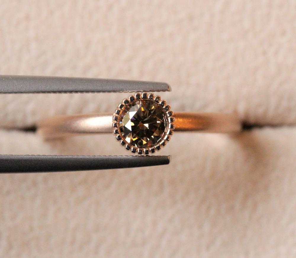 エシカル・ブラウンダイヤモンド&ローズプラチナゴールド(ピンクゴールド)リング
