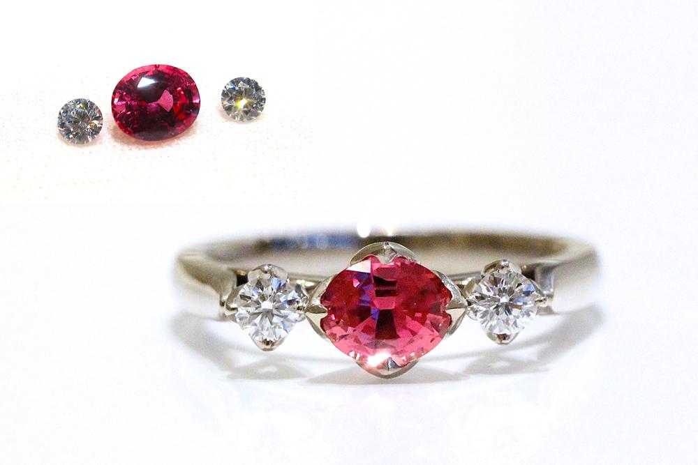 【オーダーメイド】ルースからお選びいただけます。例:パパラチアサファイア&ダイヤモンドリング