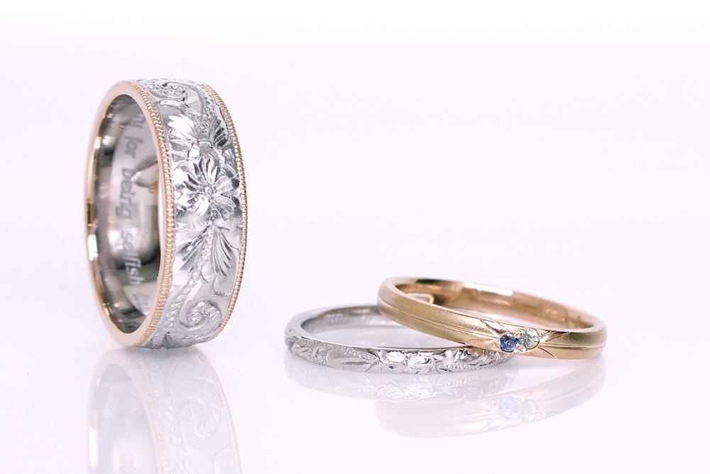 【オーダーメイド】結婚指輪(ハワイアンジュエリー)、ユニオンジャック(サファイア)