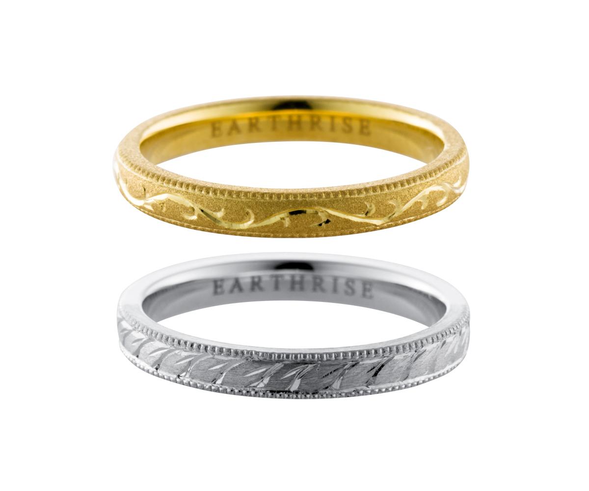 エシカルジュエリー 結婚指輪 瑞葉、唐草クラシック