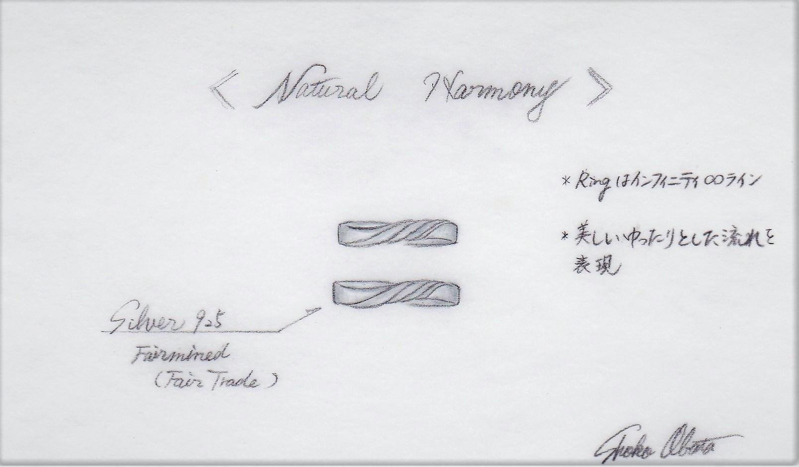 オーダーメイドの結婚指輪(フェアトレードシルバー製)デザイン画