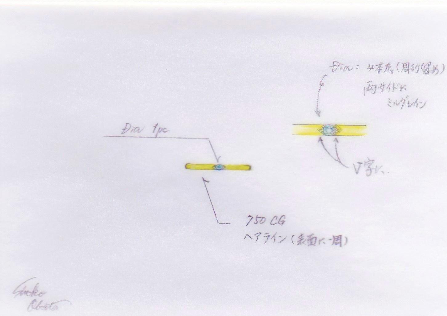 シャンパンゴールドのピンキーリング(オーダーメイド)エシカルダイヤモンドを使用。エシカルジュエリーのデザイン画