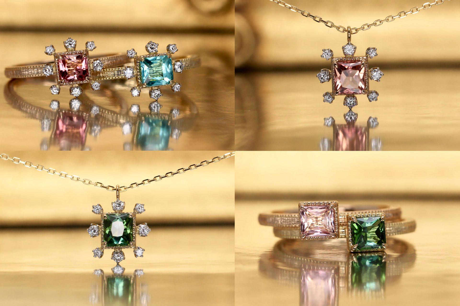 【雪の花】パライバトルマリン、ピンクトルマリンなどを用いたアンティークデザインのジュエリーコレクション