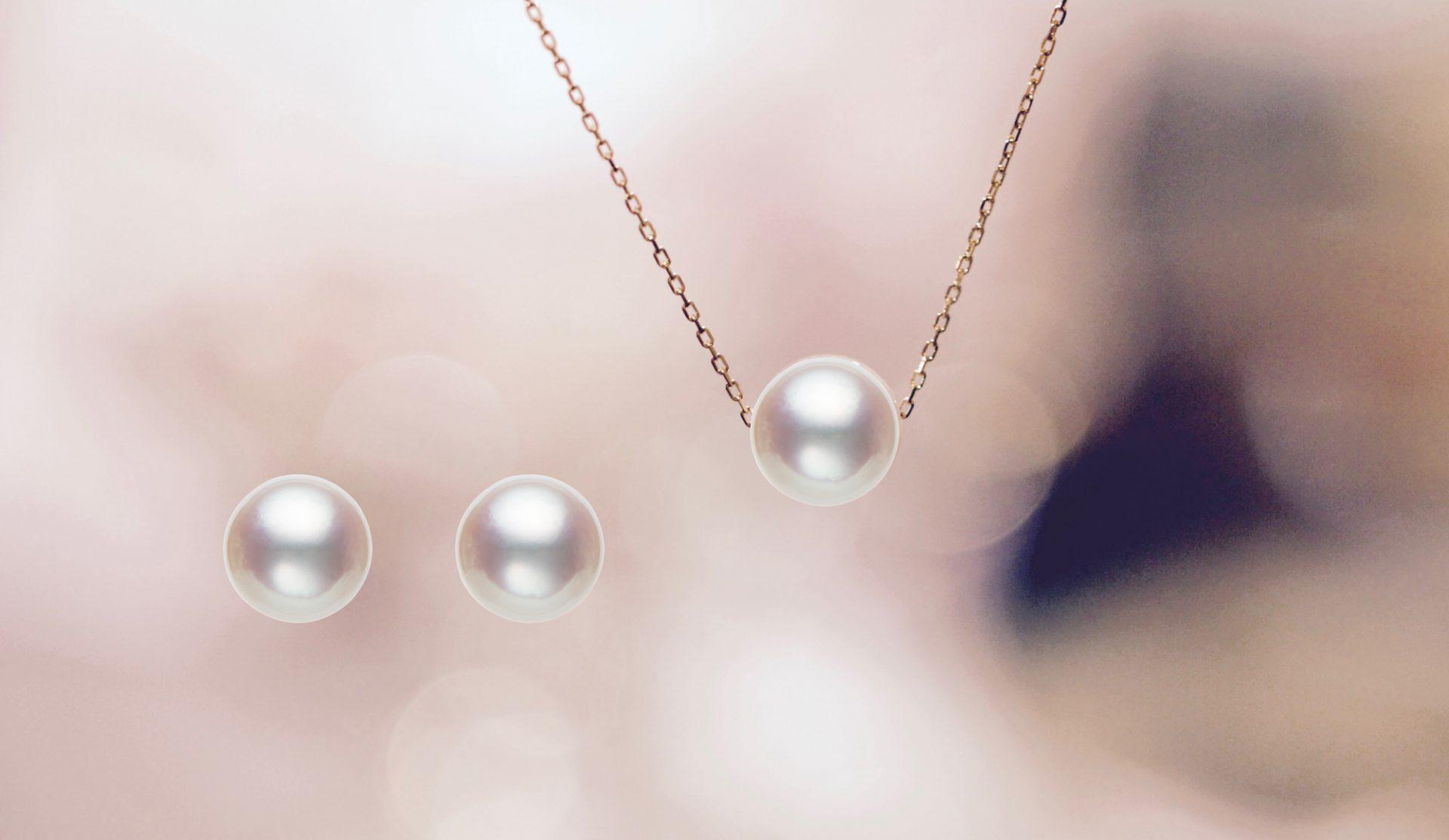 〔月の雫〕アコヤパール(真珠)ネックレス、ピアス