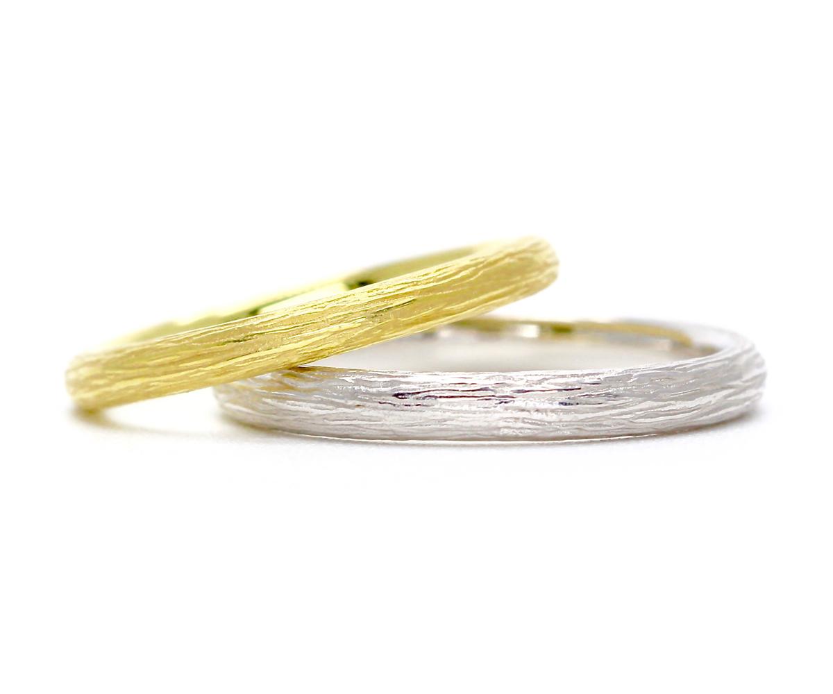 結婚指輪・森(木肌)デザイン・エシカル・フェアトレードジュエリー
