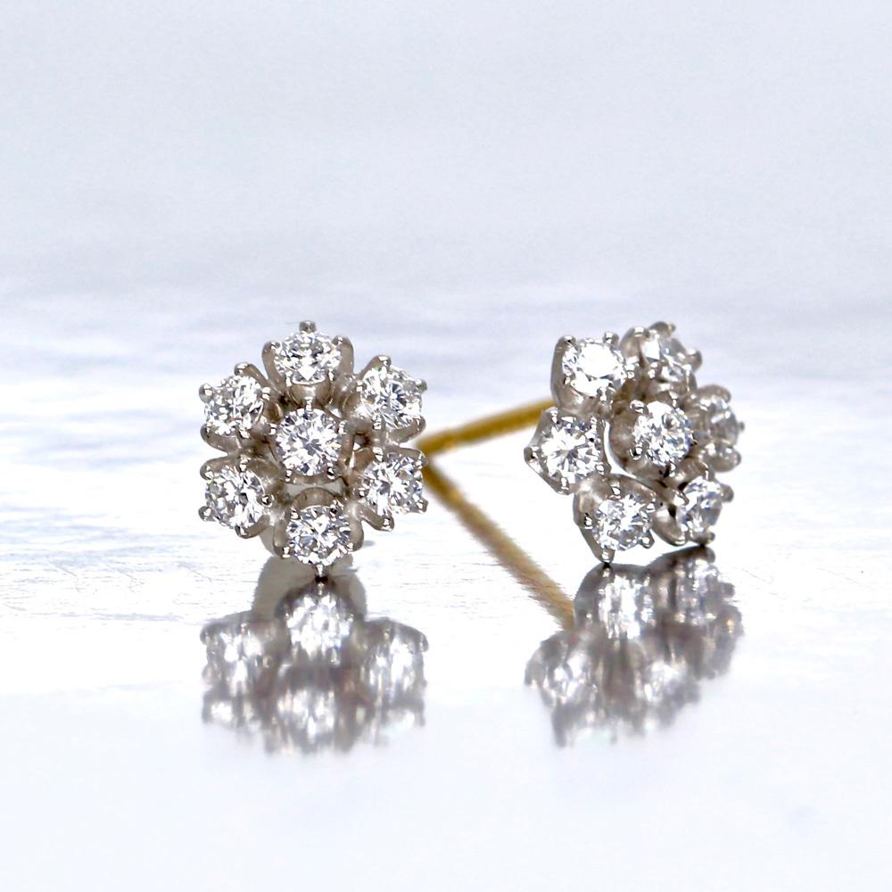 雪の花(雪の結晶)ダイヤモンドピアス/イヤリング