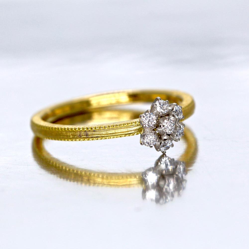 雪の花(雪の結晶)ダイヤモンドリング