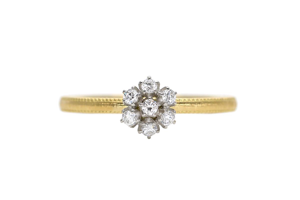 雪の花 アンティーク婚約指輪(エンゲージメントリグ)