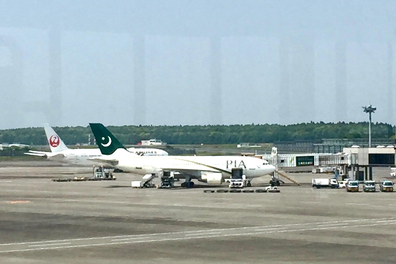 成田空港にて。PIA(パキスタン航空)